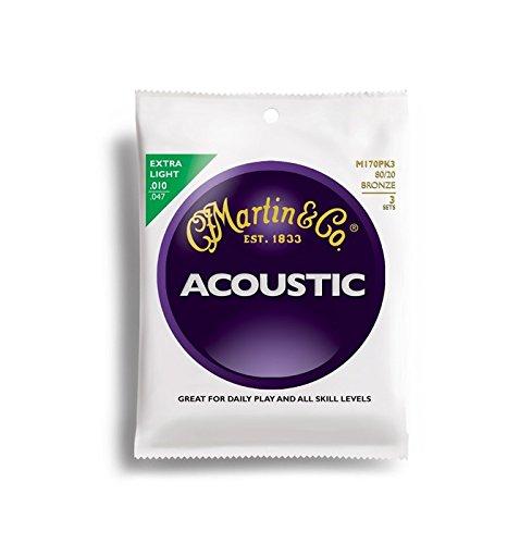 Preisvergleich Produktbild Martin 6-Saiten-Satz für Akustikgitarren, 80/20 Bronze, Stärke Extra Light .010-.047, 3er Pack