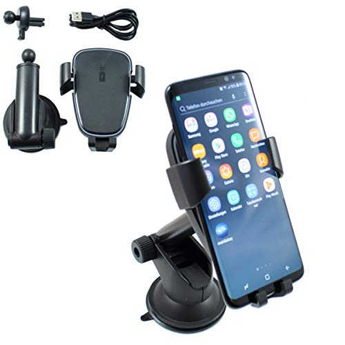 Smart Planet® Induktion Handy Halterung Set Ladegerät fürs Auto Qi Fastcharger Handyhalterung Lüftungsgitter und Saugnapf Smartphone Halter