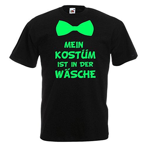 T-Shirt MEIN KOSTÜM IST IN DER WÄSCHE mit Fliege Karneval Fasching Verkleidung Schwarz (Druck Grün) L (Lady Kostüm Cowboy)
