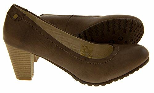 Coconel 216718 Faux Cuir Bloc Talon Chaussures Formelles Femmes Gris