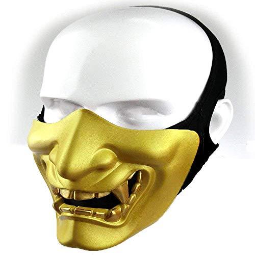 Kostüm Ninja Demon - Samurai Airsoft Maske Tactical Prajna Half Face Hannya Oni Motorrad Evil Demon Knight Kabuki Maske für Halloween Cosplay Kostüm Jagd Schießen