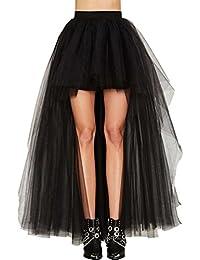 Lvguang Femmes Vintage Jupe Asymétrique Taille Haute Tutu Tulle Jupon Fête  Danse Longue Jupe 0b41ba1b6611