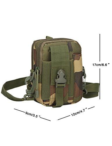 CUKKE Multipurpose Taktische Tasche Gürtel Taille Pack Tasche Military Taille Fanny Pack Telefon Tasche Gadget Geld Tasche Grün Tarnung 4