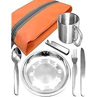 Outdoor saxx®–Completo Outdoor Picnic Juego | Plato de acero inoxidable + camping Cubiertos Cuchillo Tenedor Cuchara + taza de acero inoxidable + Funda | 7piezas)