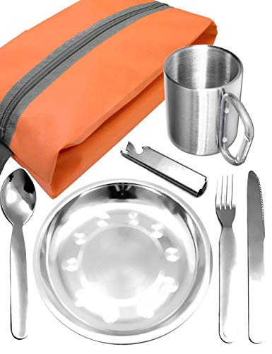 Outdoor Saxx® - Komplettes Outdoor Picknick-Set, Geschirr-Set, Edelstahl Teller, Camping BESTECK Messer Gabel Löffel, Edelstahl Tasse Becher, Tasche, 7-teilig -