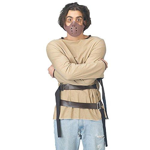 Hannibal Kostüm Lecter Maske - Bristol Novelty AC402 Zwangsjacke mit Hannibal-Maske, Medium, unisex - erwachsene, mehrfarbig, M