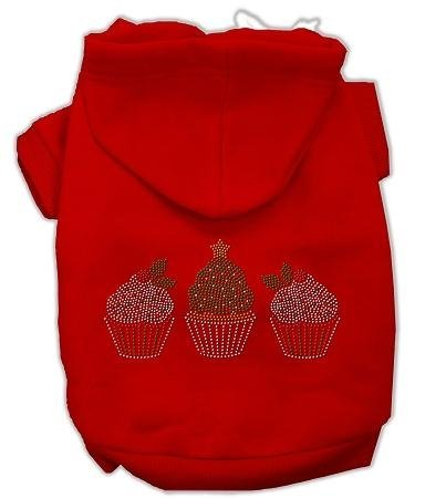 Mirage Pet Products 10-Inch Christmas Cupcakes Rhinestone Hoodie, Small, Red by Mirage Pet Products Cupcake-hoodie