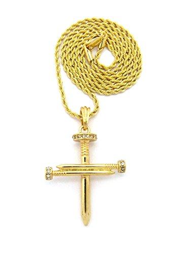 Halskette in Goldton mit reversiblem Kreuz Anhänger aus strassbesetzten Nägeln mit 2mm 61cm Seilkette (Kreuz Nageln 3)