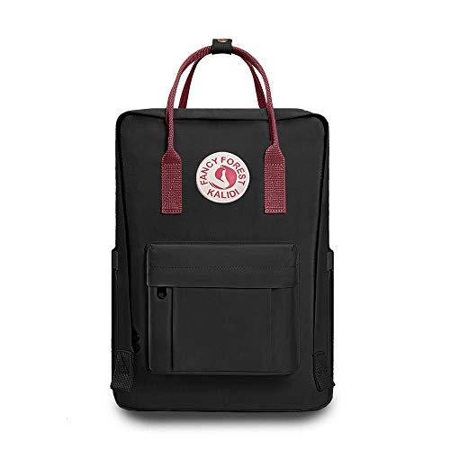 KALIDI Rucksack/Daypack Rucksack Mädchen Jungen & Kinder Damen Herren Schulrucksack mit laptopfach für 15 Zoll Notebook (Schwarz mit rotem Riemen)