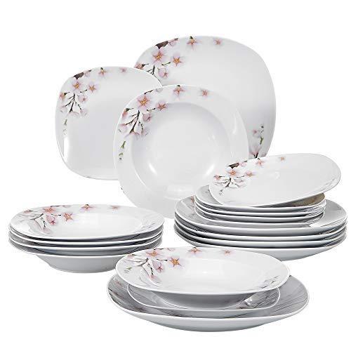 Veweet ANNIE 18pcs Assiettes Pocelaine Service de Table 6pcs Assiettes Plates 24,7cm, 6pcs Assiette Creuse 21,5cm, 6pcs Assiette à Dessert 19cm Vaisselles pour 6 Personnes Sakura Fleuri