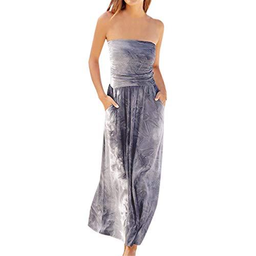 Kleider Damen Sommer,Party Kleid Für Damen Women Bandeau Holiday Off Shoulder Sleeveless Tie Dyeing Summer Maxi Dressvon Evansamp(Grau1,S) -