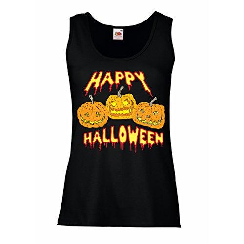 Damen Tank-Top Happy Halloween! (Small Schwarz Mehrfarben)