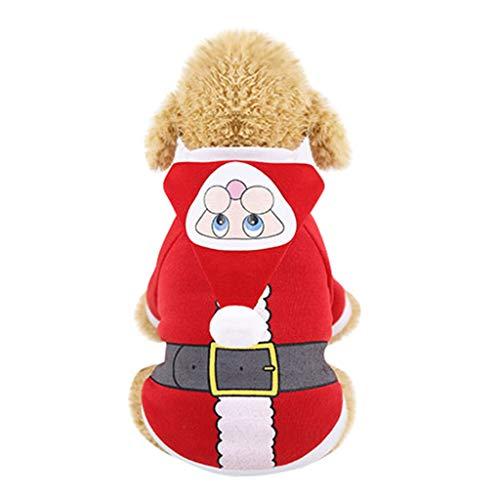 Haustier Katze Muster Kostüm - Santa Haustier Katze Hund Kostüm Frohe Weihnachten Baum Muster Kleidung Baumwolle Hoodie Wintermantel Hundekleidung Herbst Winter (XL, Rot)