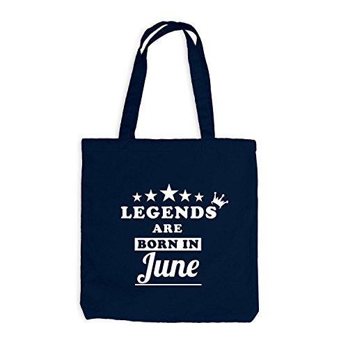 Jutebeutel - Legends are born in June - Birthday Gift Navy
