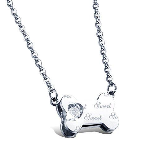 Faysting EU Dolce CD Bone di amore collana di diamanti lettere inglesi in acciaio al titanio catena clavicola signorina