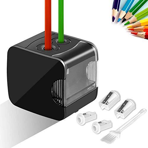 Meerveil Anspitzer, Elektrischer Anspitzer USB- und Batteriebetrieb, Vollautomatischer Bleistiftspitzer mit 2 Löcher von Verschiedenen Größe, Sicher für Kinder, Schwarz