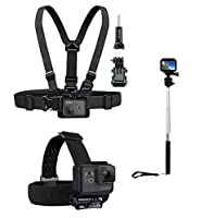 Fone-Stuff The Chest Harness, Head Strap Helmet and GoPro Handle Selfie Stick - Adjustable, One Size Fits All Accessory Kit for Fusion HERO 6 HERO 5 4 3+ 2 Session & Action Cameras by PuluzŽ