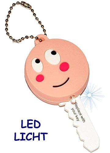 alles-meine.de GmbH 3 Stück _ Schlüsselanhänger mit LED Licht -  lächelndes Gesicht  - Taschenlampe für Tasche & Auto - Schlüsselhülle Lampe / Projektor - Licht / Leuchte - Sch..