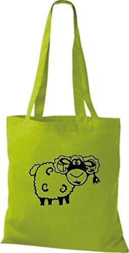 shirtstown Borsa di stoffa animale pecora pecore Lime