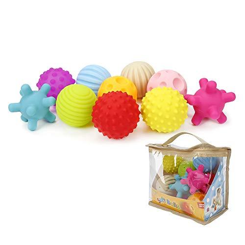 Dightyoho Bolas Sensoriales Bebé Piscina sin BPA con Sonido, 10pcs Juguetes para Niños 1-4 años, Pelotas de Masaje de Diferentes Texturas