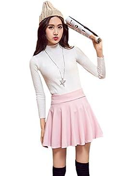 XFentech Transpirable falda plisada de cintura elástica color sólido más el tamaño falda corta para mujer