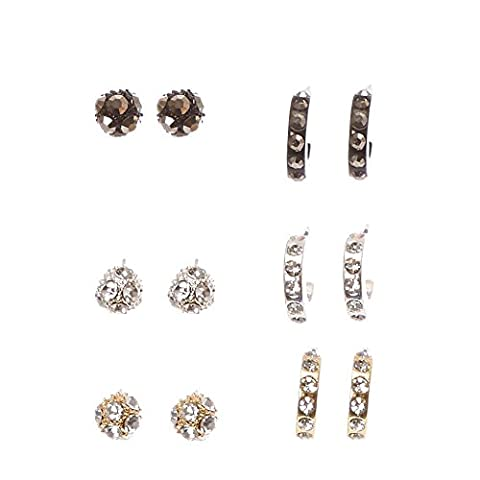 Claire's Girl's Mixed Metal Faux Crystal Lined Ball Stud and Half Hoop Earrings in Silver