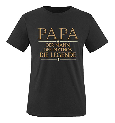 Comedy Shirts - Papa der Mann der Mythos die Legende - Herren T-Shirt - Schwarz/Hellbraun-Beige Gr. M