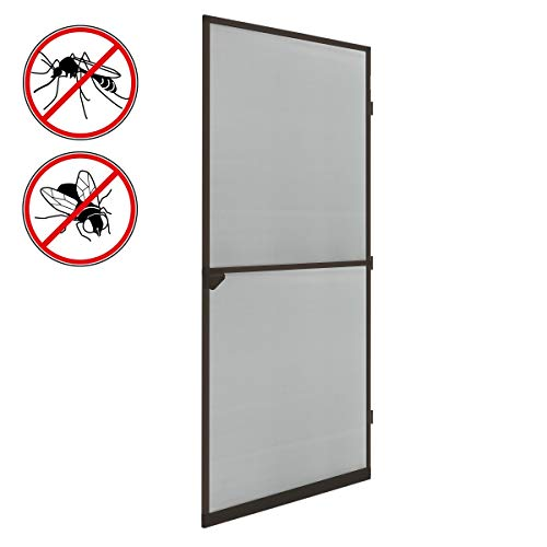 ECD Germany Fliegengitter mit Rahmen aus Aluminium - 100 x 220 cm - Braun - wetterfestes Moskitonetz aus Fiberglasgewebe für Tür