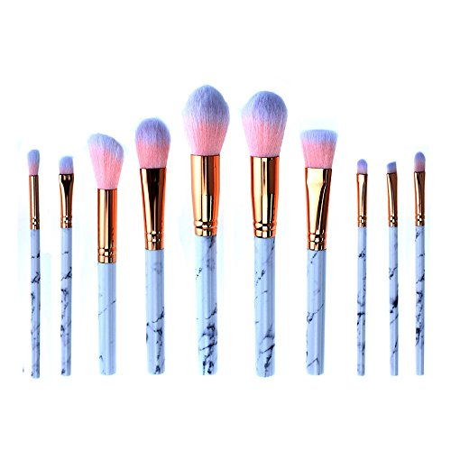 AKAAYUKO 10PCS Kit de Pinceau Maquillage Professionnel Blush Pinceau Poudre Brush Fard à paupières Sourcils -Black Pink
