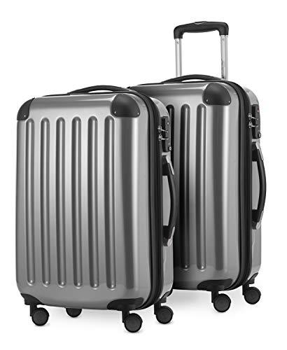 HAUPTSTADTKOFFER® · Set de 2 Valises cabine à coque dure · 45 litres · Serrure TSA (Argenté)