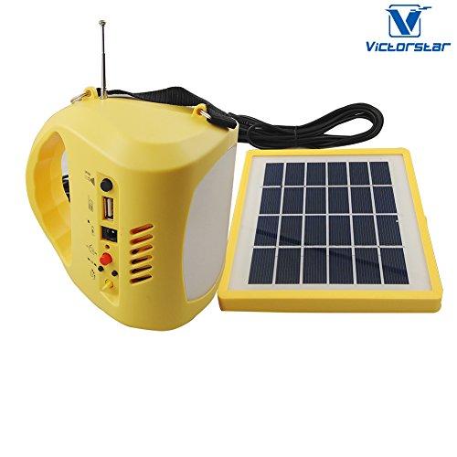 Tragbares Solar Camping Laterne LED – VICTORSTAR 4 in 1 wiederaufladbare LED Camping Laterne + Solar Panel / Taschenlampe / Nachtlicht / Power Bank / Radio FM /4 Beleuchtung Modi – N710 (Solar Lampe Und Radio)