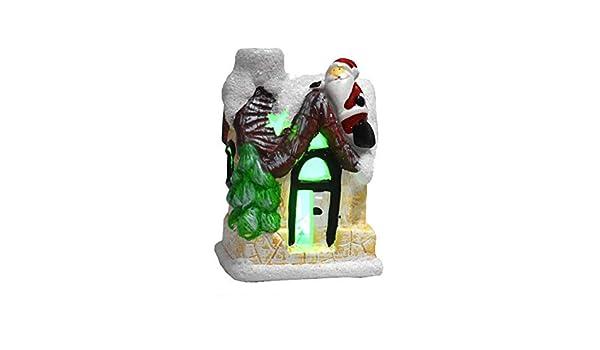 Angmile Ornement De No/ël Lumineux Color/é Neige Maison Village Maison Sc/ène Grand Cadeau De No/ël D/écoration de La Maison