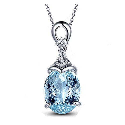 Youkara cielo blu topazio pietra gioielli collana con ciondolo a forma di cuore per donna