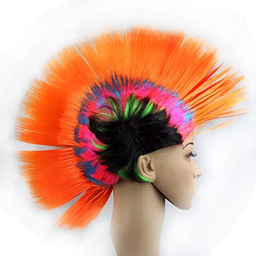 Newin Star Lustige Cockscomb Perücken Halloween-Weihnachtsfest-Kostüm verkleiden Kopfschmuck Mohawk Hahnenkamm Hair (Regenbogen-orange) (Mohawk Halloween Kostüme)