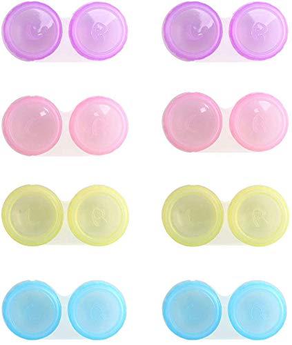 ETSAMOR Kontaktlinsenbehälter 20 Pcs Linsenbehälter Verschiedene Farben Kontaktlinsenbehälter Set für Zuhause Reisen Weiche Harte Linsen