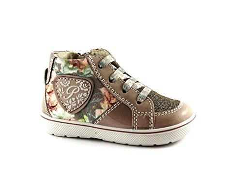 PRIMIGI 65341 beige fiori scarpe bambina sneaker mid zip laterale 21