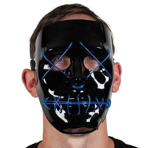 B-kreative Erwachsene Blaue Neon Light up Maske Fancy Kleid Purge Wahljahr ()