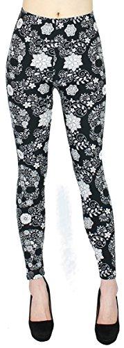 Damen Leggings Schmetterling Blumen Muster Treggings Jeggings mit Flower Print - JL096 (JL149-FlowerSkull   Gr.36-42)