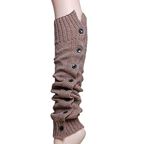 Vovotrade Femmes Chic Tissage Extensible Bottes Legging avec Boutons Chaud