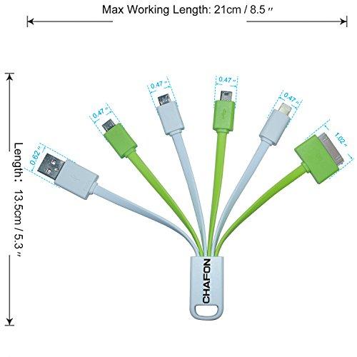 Chafon ultima Premium 6 in 1 con cavo USB per ricarica per iPhone 6 6 Plus 5s 5c Air2 iPad 5 Air, mini mini 2 mini3, iPad 4, iPod touch 5 gen, iPod nano (7a generazione), Samsung Galaxy
