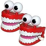 2 x großes laufendes Gebiss mit Stielaugen Scherzartikel Zähne Gebisse