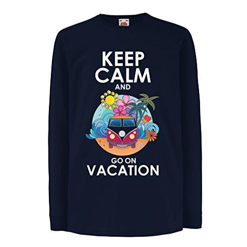 Kinder-T-Shirt mit Langen Ärmeln Gehen Sie auf Urlaub, Nette Outfits, Strandkleidung, Resortabnutzung (12-13 Years Blau Mehrfarben)