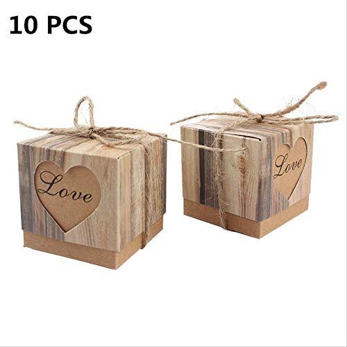 ZMDA Geschenktüte 10 Stücke Hochzeit Gefälligkeiten Papier Cookie Tasche Karton Süßigkeiten Geschenkbox Kinder Alles Gute Zum Geburtstag Startseite HochzeitHerz Box