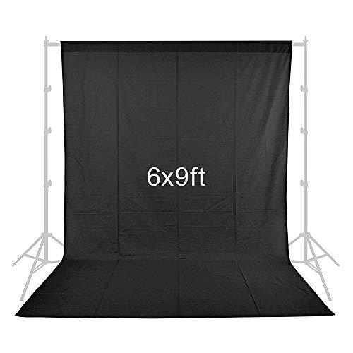 Fotografie Hintergrund, Heorryn 6 x 9ft /1,8 x 2,8 M Schwarz Fotohintergrund für Fotografie 100% Reiner Musselin-Falthintergrund mit 4 Hintergrund-Clips