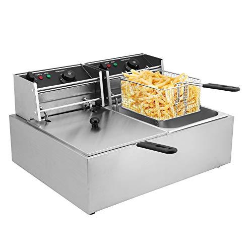 Moracle Freidora Eléctrica de 5000 W Capacidad Profesional Sartén de 12 litros Sartén para Patatas Fritas con Dos Cubas y Temporizador