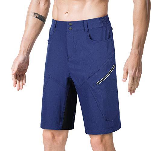Souke Sports Herren MTB Shorts Atmungsaktiv Mountainbike Kurz Outdoor Sports Herren Fahrradhose mit Reißverschlusstaschen