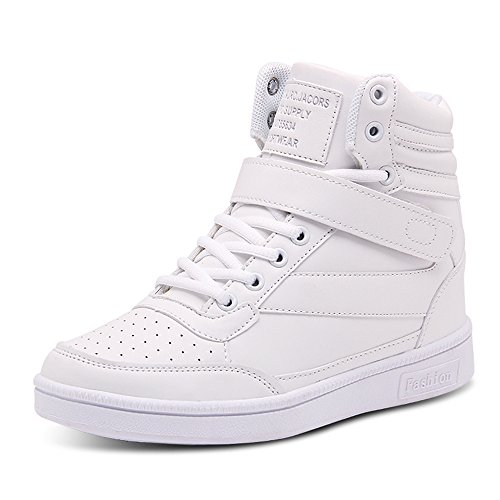 BAINASIQI Damen Sneakers High Top Sportschuhe Wedges Keilabsatz Schuhe Laufschuhe Atmungsaktive Freizeitschuhe Turnschuhe (EU 38, Weiß-01)
