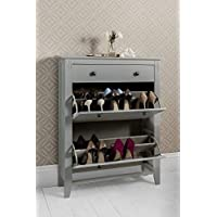 Noa and Nani - Cotswold Deluxe Shoe Storage Cabinet with Drawer - (Silk Grey)
