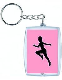 """'Porte-clés """"exercice de fitness de Femelle de Fille de Santé de humaine de Personnes de personne de pose de silhouette de dilatation de Femme en noir/blanc/bleu/rose/jaune/rouge/vert   Caddie–Sac Remorque–Sac à dos–Porte-clés, rose bonbon"""