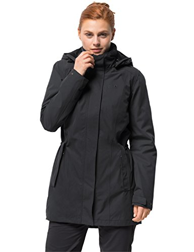 Jack Wolfskin Damen Madison Avenue Coat Mantel, Grau (phantom), M (Columbia Mantel Größe Winter Plus)